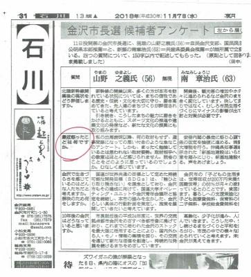 候補者アンケ朝日2018.11.7