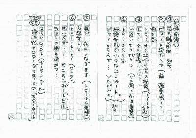 「俺・現役・トニー谷」永さん手書き進行台本1986.12.4